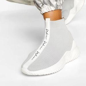 BRAND NEW! BOOHOO grey & white 'woman' script knitted sock shoe